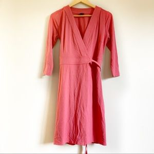 Ann Taylor coral pink wrap dress with fabric belt